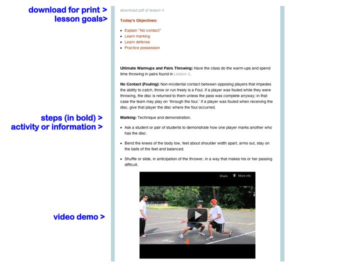 Ultimate Frisbee In 5 Lessons Overview Gym Class Ultimate Frisbee